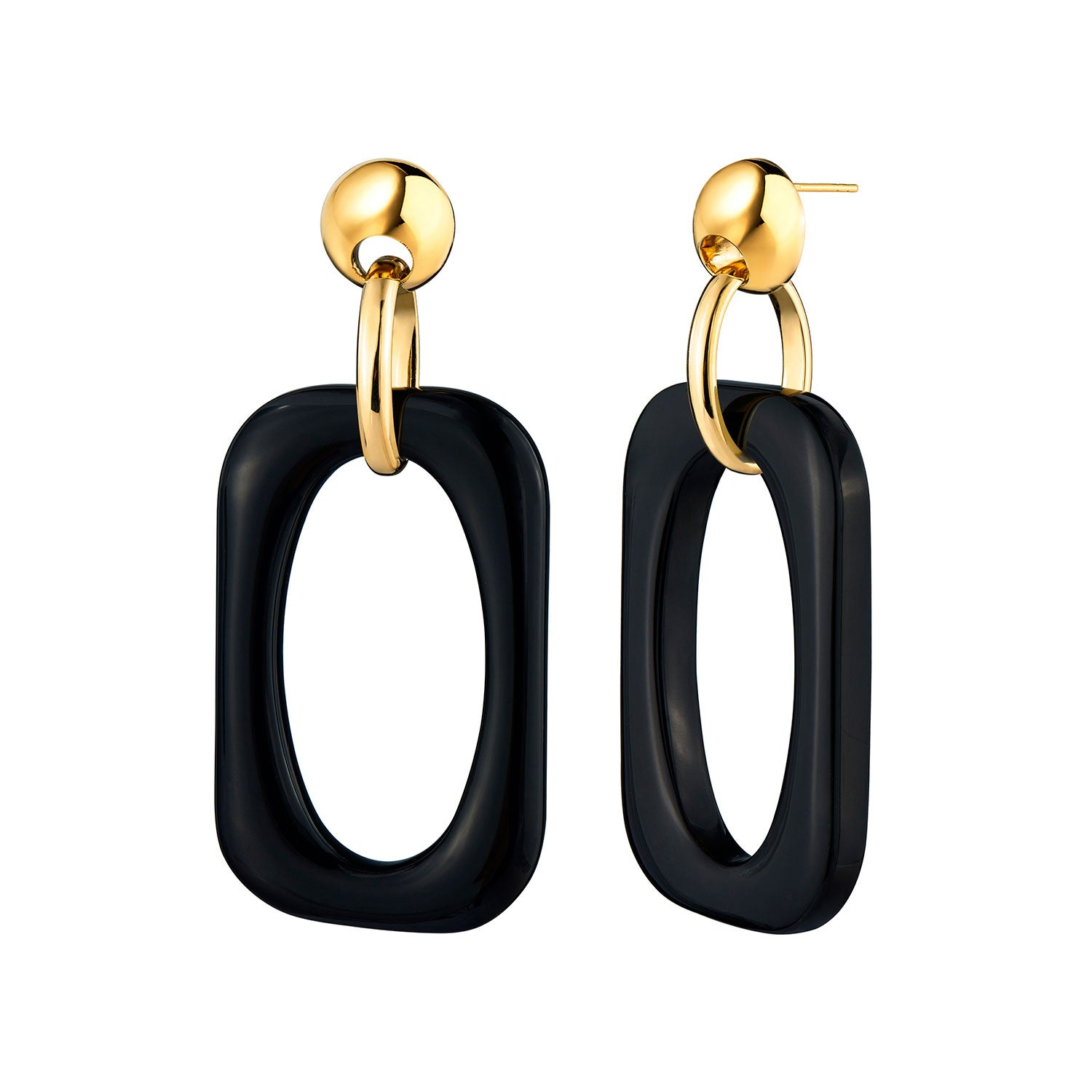 Black Oversized Rectangle Lucite Earrings