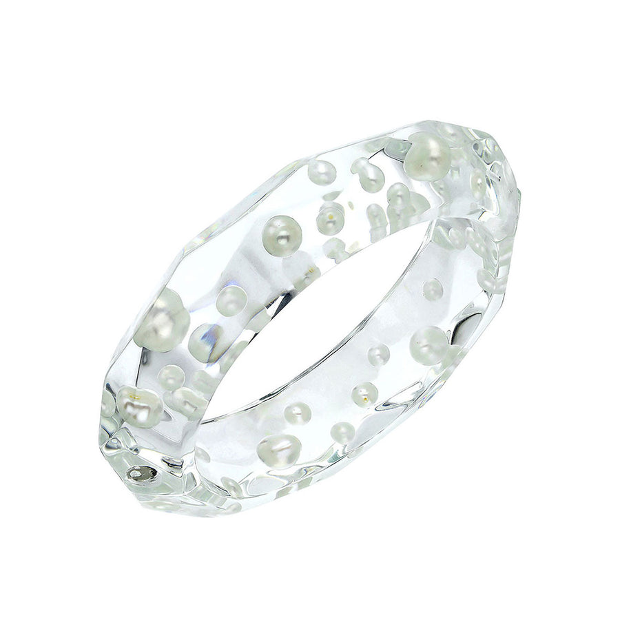 Clear Faceted Lucite Bangle with Pearls