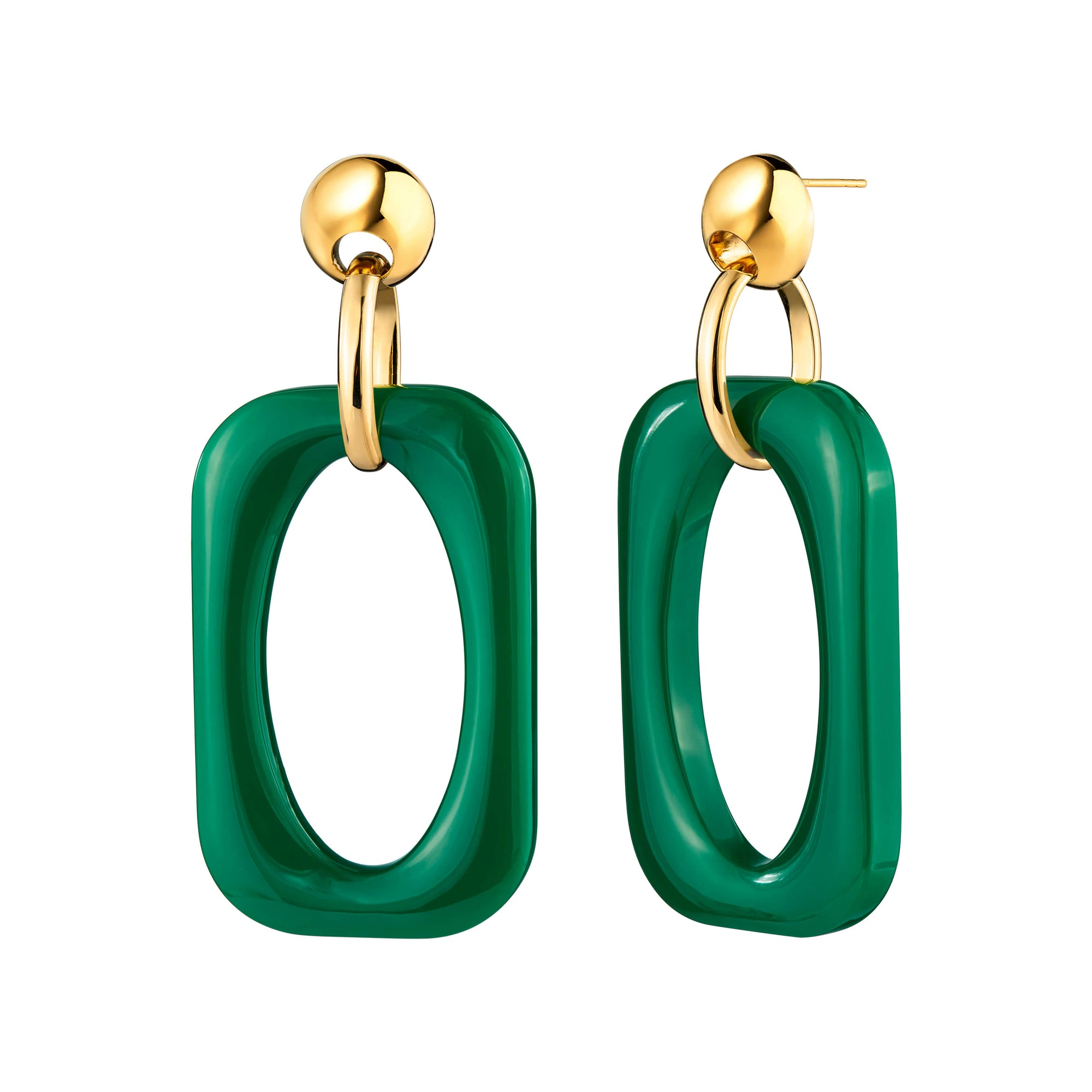 Emerald Green Oversized Rectangle Lucite Earrings