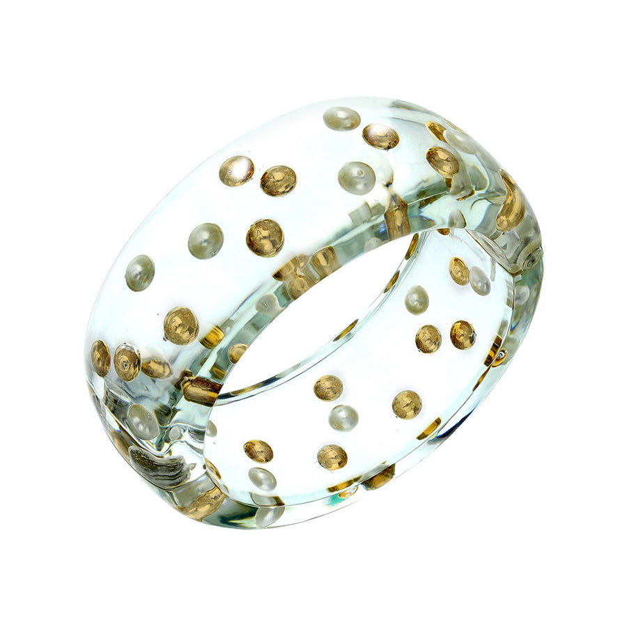 Wide Lucite Bangle with Gold Beads and Pearls