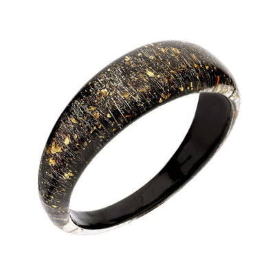 Lucite Bangle with Gold Flakes Black