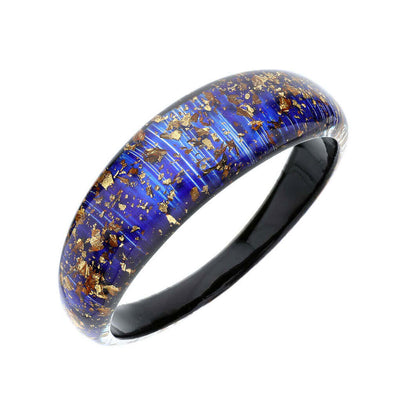 Lucite Bangle with Gold Flakes BLUE