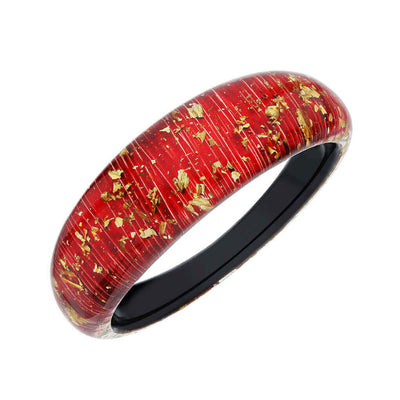 Lucite Bangle with Gold Flakes RED
