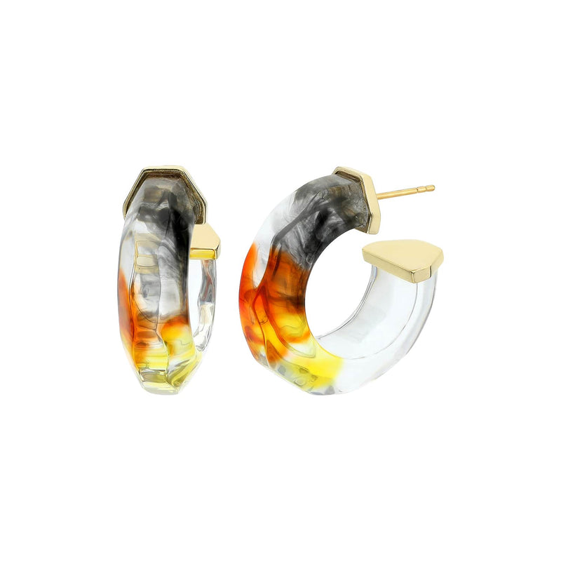 Ombré Faceted Lucite Earrings BLACK