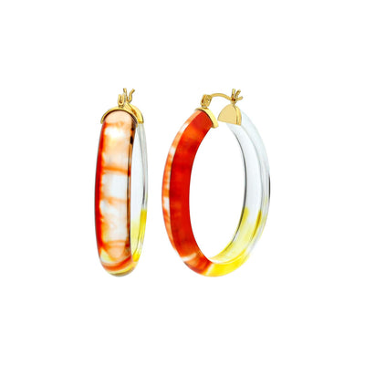 Ombré Oval Lucite Earrings RED