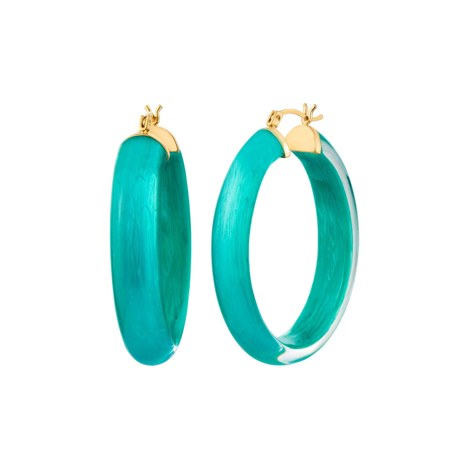 Medium Oval Illusion Lucite Hoops - Click Top
