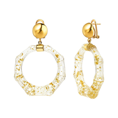 Clear Lucite Bamboo Door Knocker Earrings - GOLD FLAKE