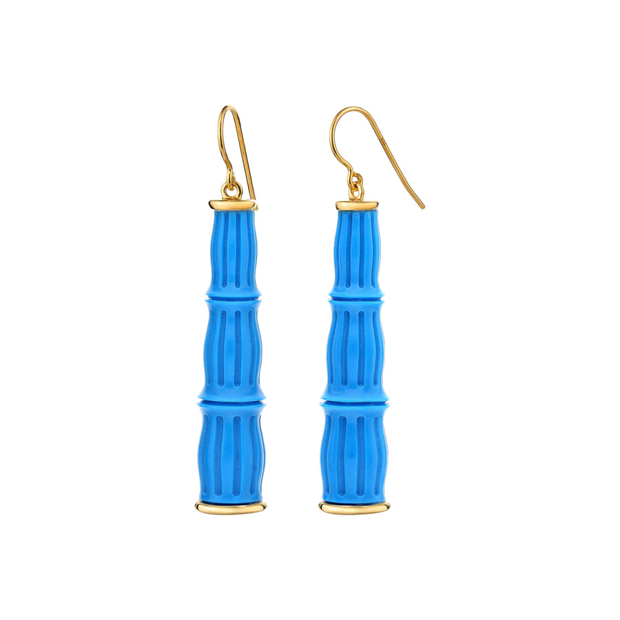 Turquoise Lucite Dangle Bamboo Earrings