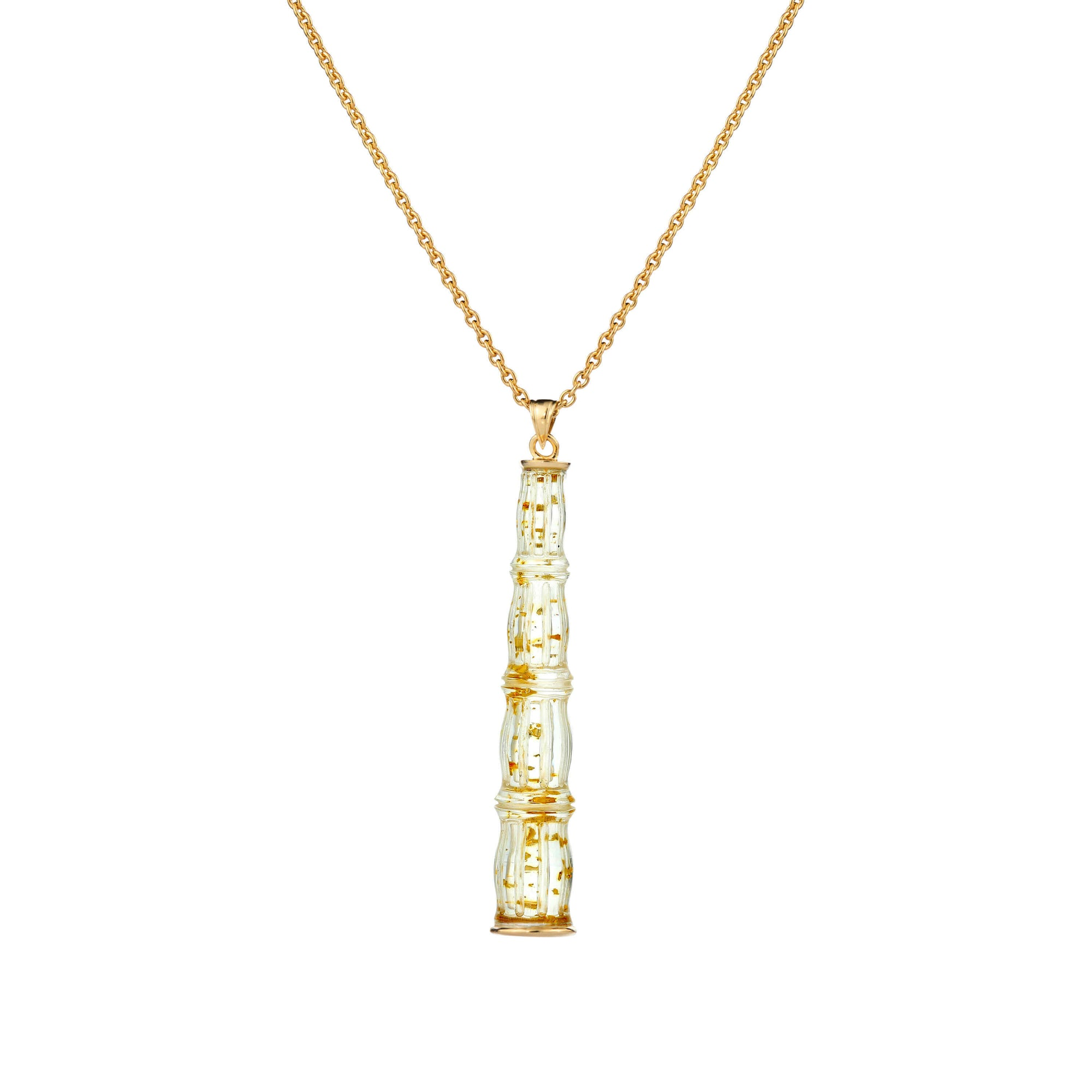 Clear Lucite Bamboo Bar Necklace With Gold Flakes