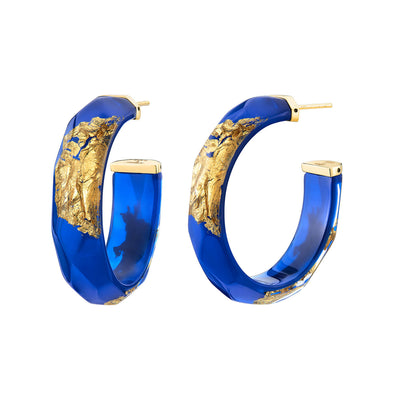 24K Gold Leaf Faceted Medium Lucite Hoops - ROYAL BLUE
