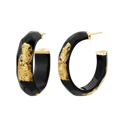 24K Gold Leaf Faceted Medium Lucite Hoops - BLACK