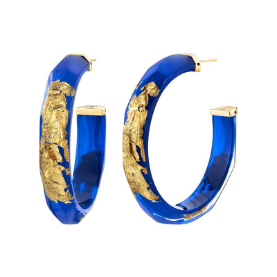 24K Gold Leaf Faceted Large Lucite Hoops - ROYAL BLUE