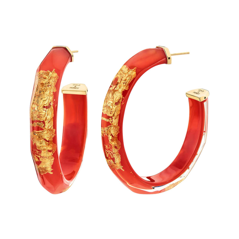 24K Gold Leaf Faceted Large Lucite Hoops <br> (More Colors Available)