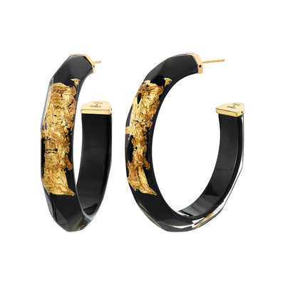24K Gold Leaf Faceted Large Lucite Hoops - BLACK
