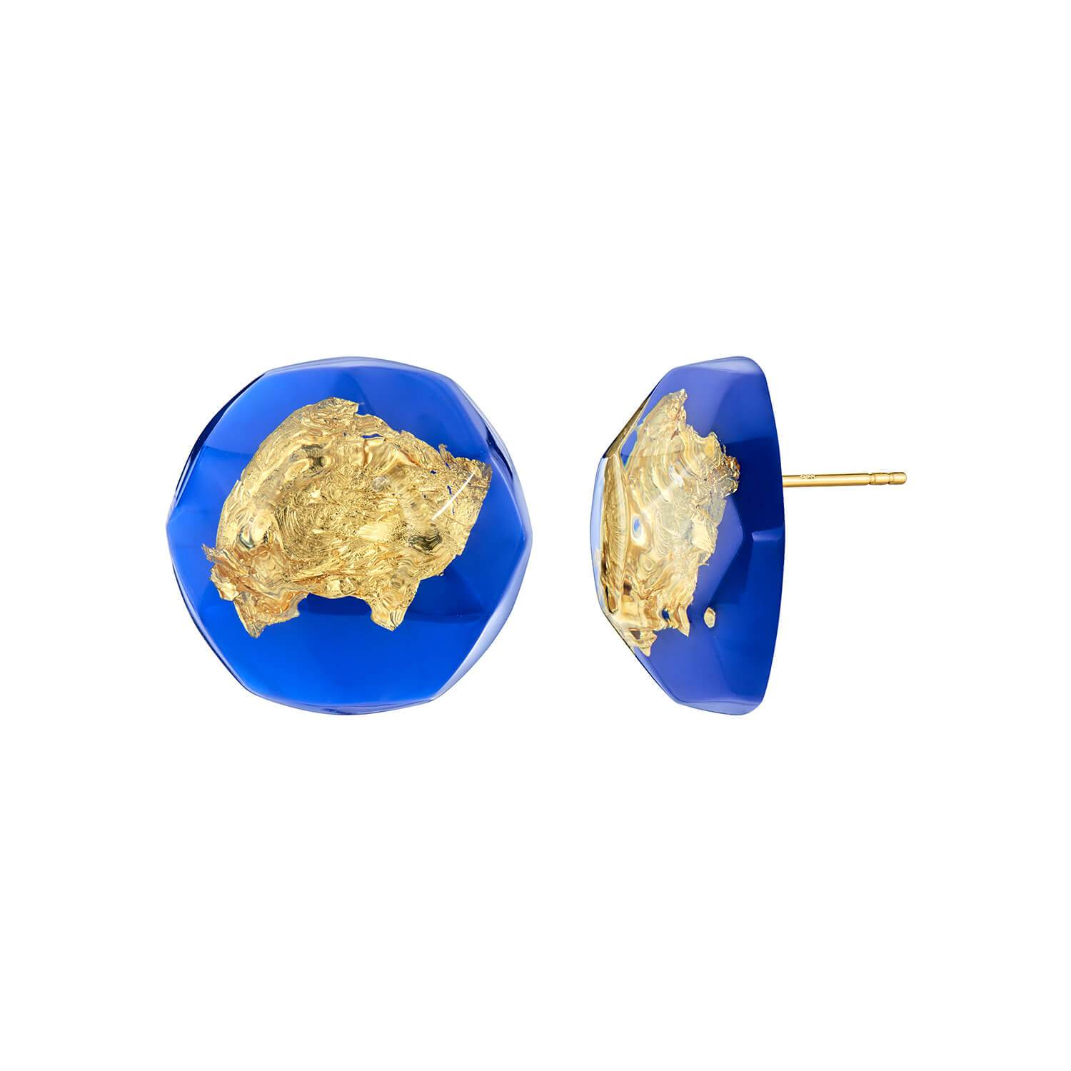 24K Gold Leaf Button Stud Earrings - Blue