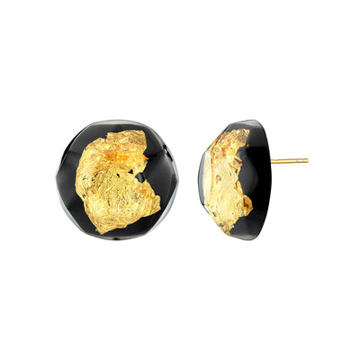 24K Gold Leaf Button Stud Earrings - Black