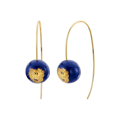 Bead Wishbone Earrings - LAPIS