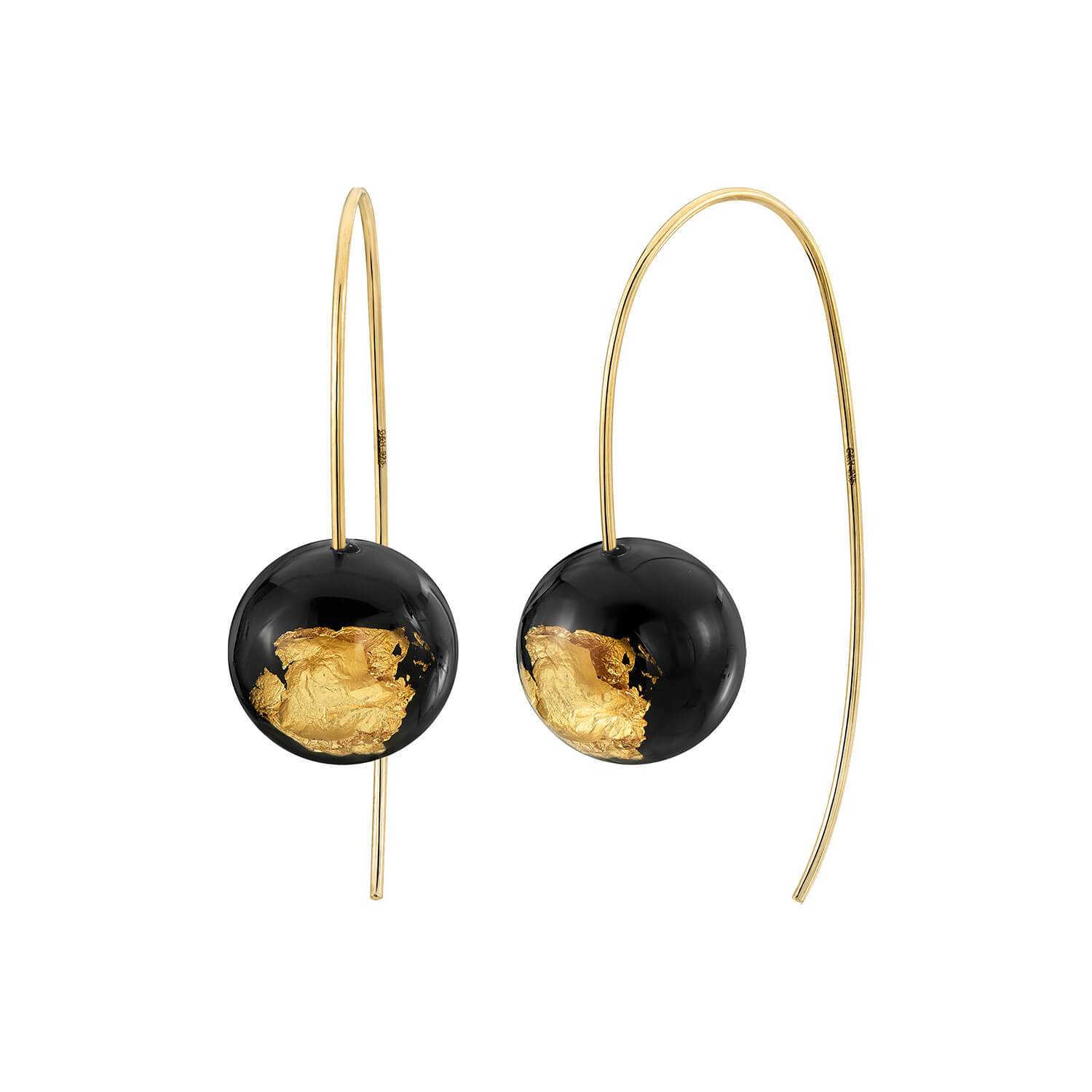 Bead Wishbone Earrings - BLACK