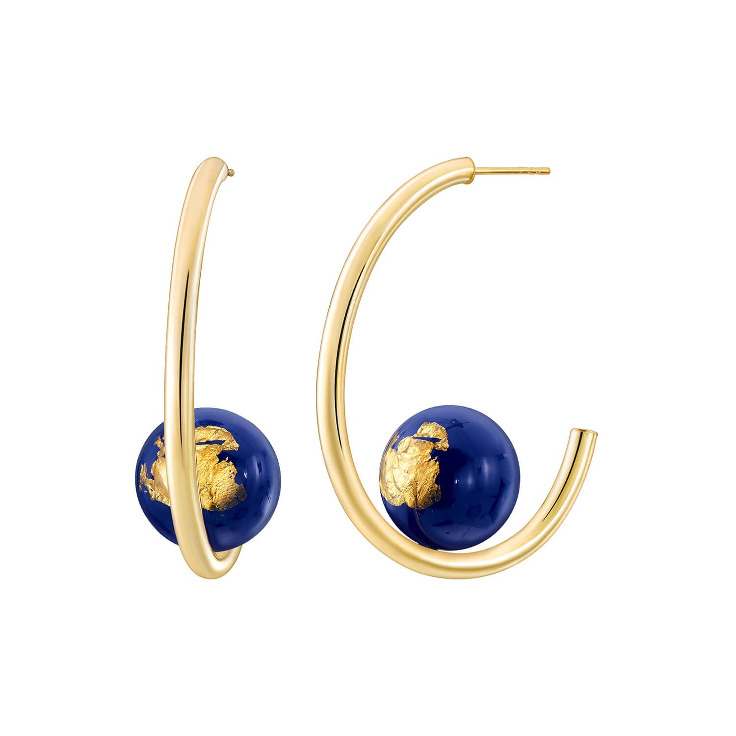 Beaded Lucite Hoops - LAPIS