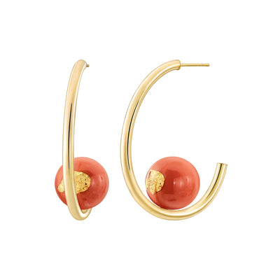 Beaded Lucite Hoops Living Coral