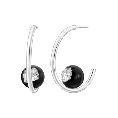 Beaded Lucite Hoops - BLACK SILVER