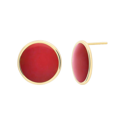 Gold Stud Earrings with Red Enamel