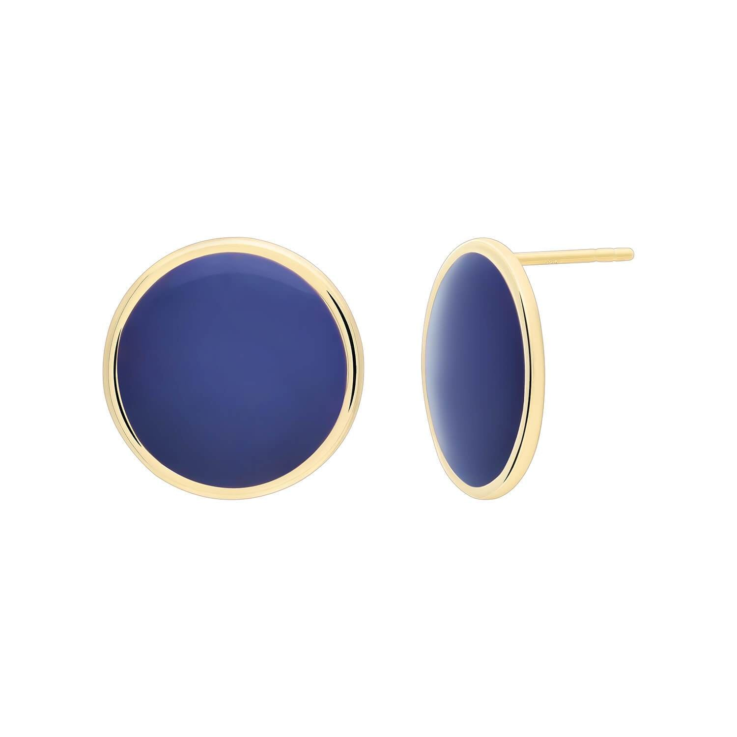 Gold Stud Earrings with Navy Enamel