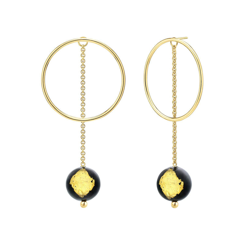 24K Gold Leaf Bead & Circle Drop Earrings