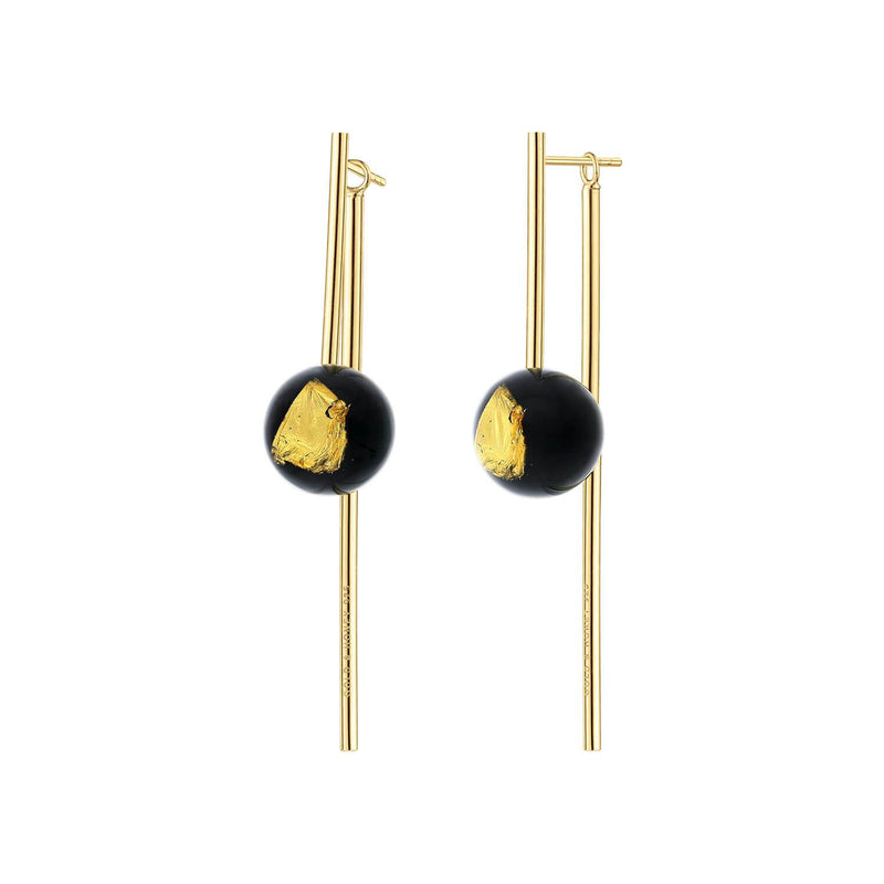 24K Gold Leaf Bead & Bar Drop Earrings