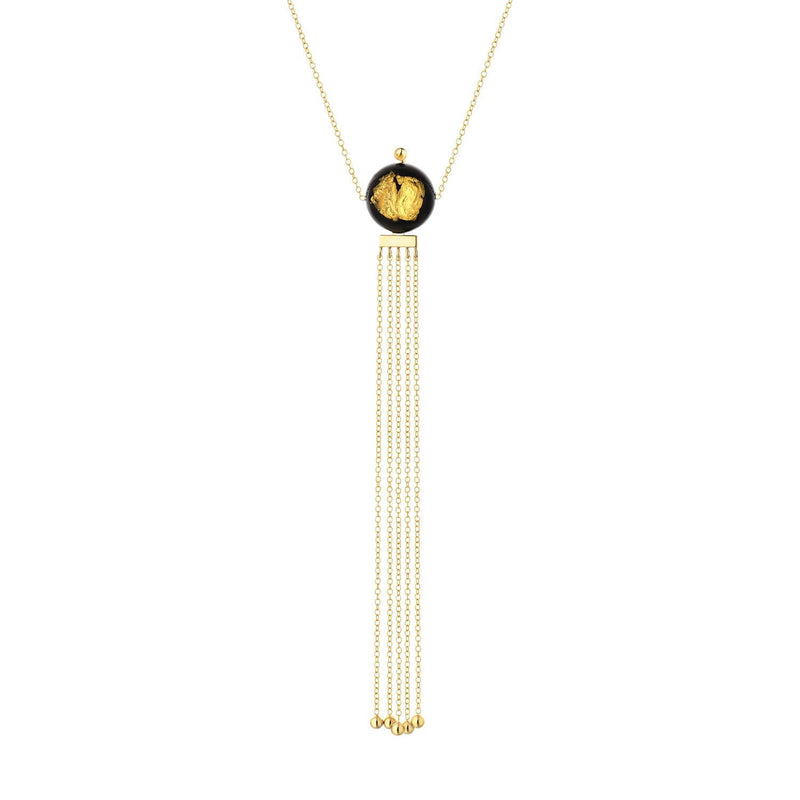 24K Gold Leaf Bead & Tassel Necklace