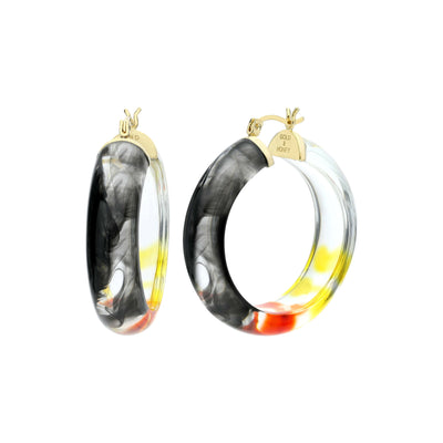 Ombré Round Lucite Earrings - BLACK