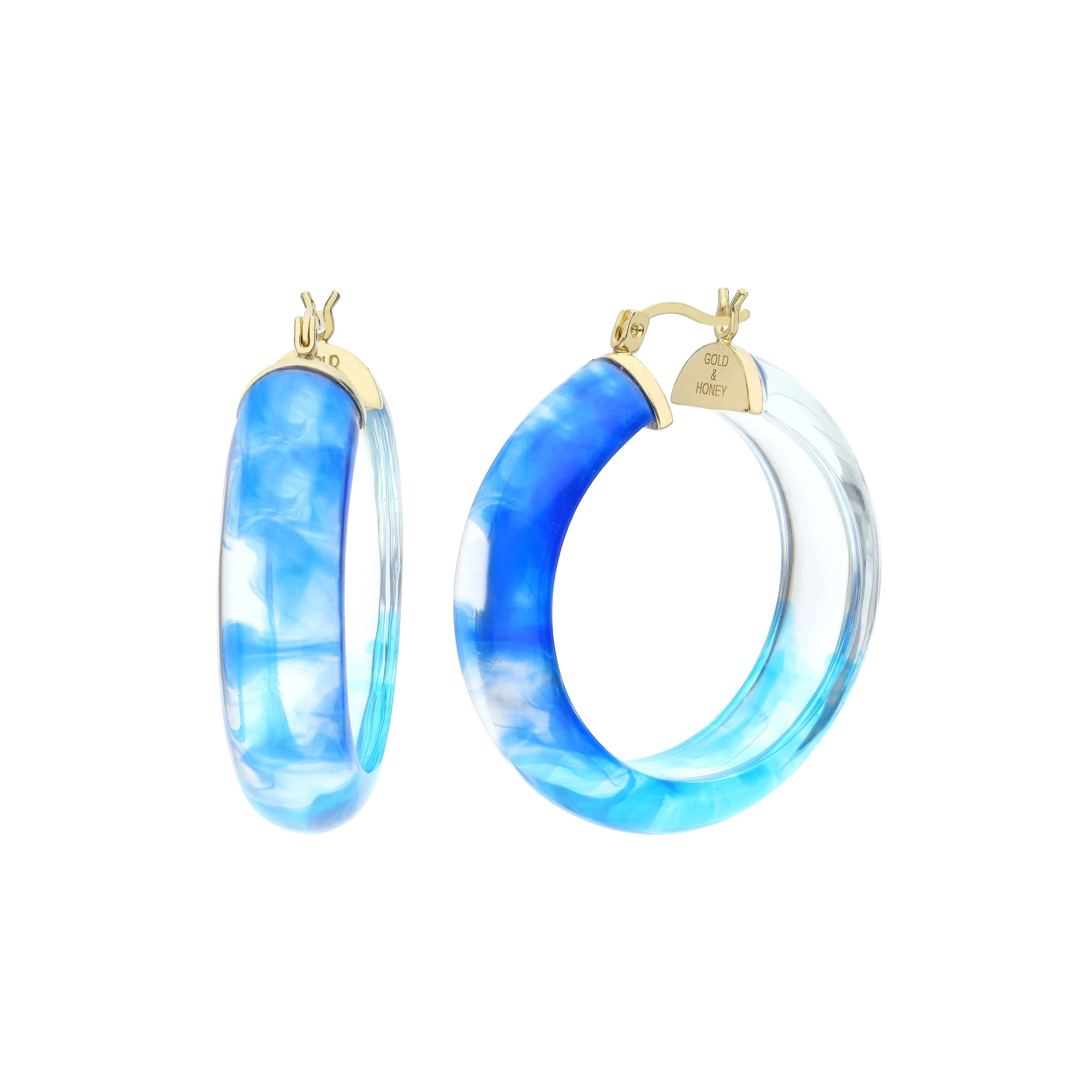 Ombré Round Lucite Earrings - Wide
