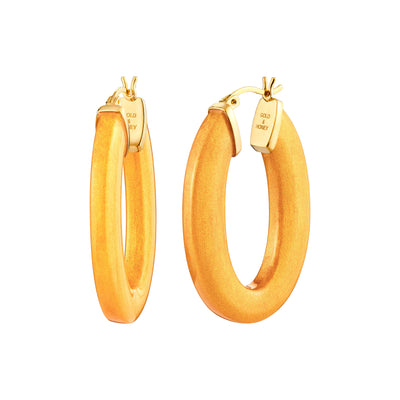Flat Oval Lucite Hoops - GOLDEN NUGGET