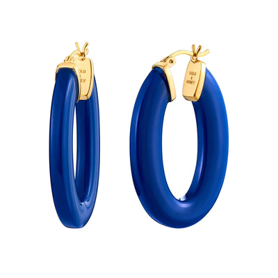 Flat Oval Lucite Hoops - LAPIS