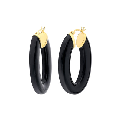 Black Lucite Oval Hoops