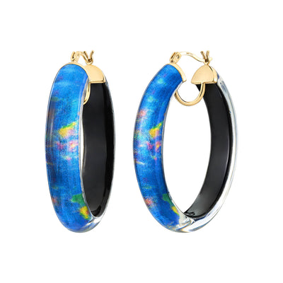 Printed Oval Lucite Hoops - WATERLILY