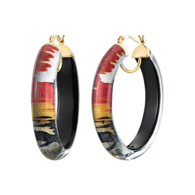 Printed Oval Lucite Hoops - STORM