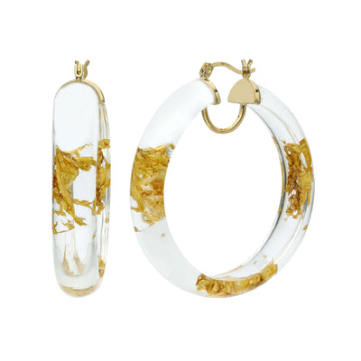 Large Round Gold Leaf Lucite Hoops - clear