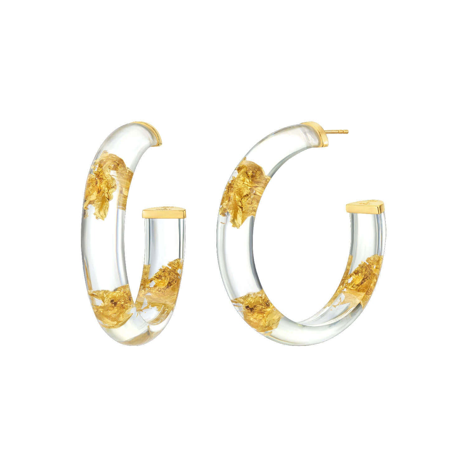 Large Gold Leaf Lucite Hoops - CLEAR