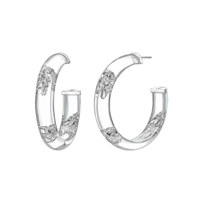 Large Silver Leaf Lucite Hoops - CLEAR