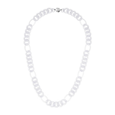 Clear Figaro Link Lucite Necklace FROSTED
