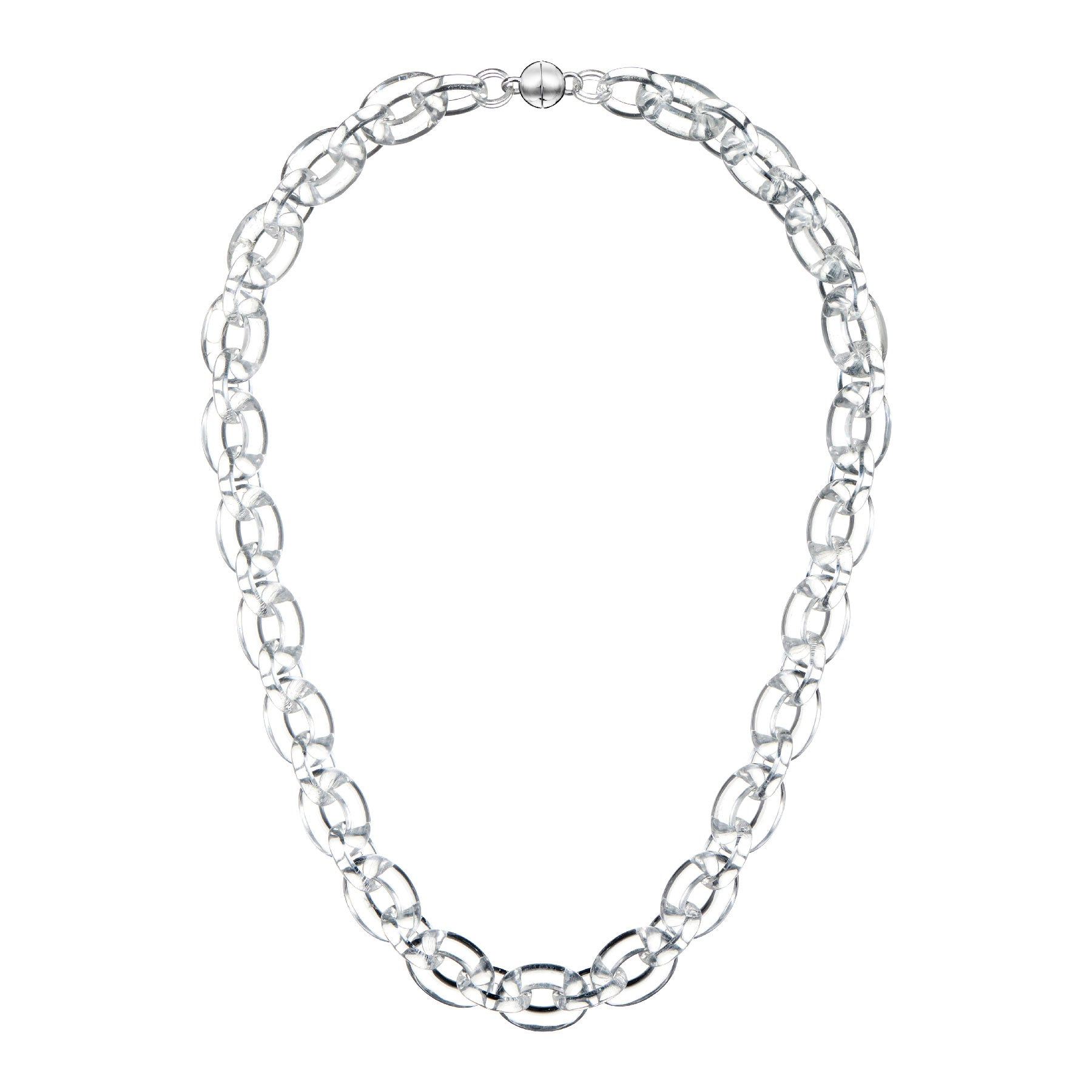 Clear Large Link Lucite Necklace