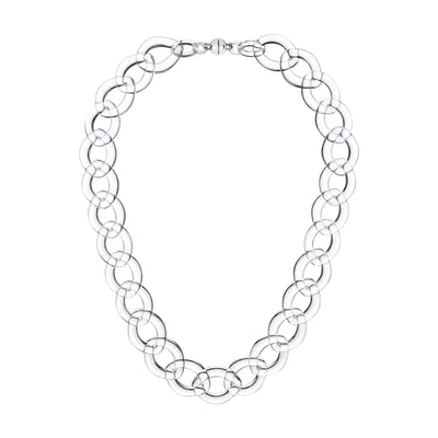 Clear Extra Large Curb Link Lucite Necklace CLEAR