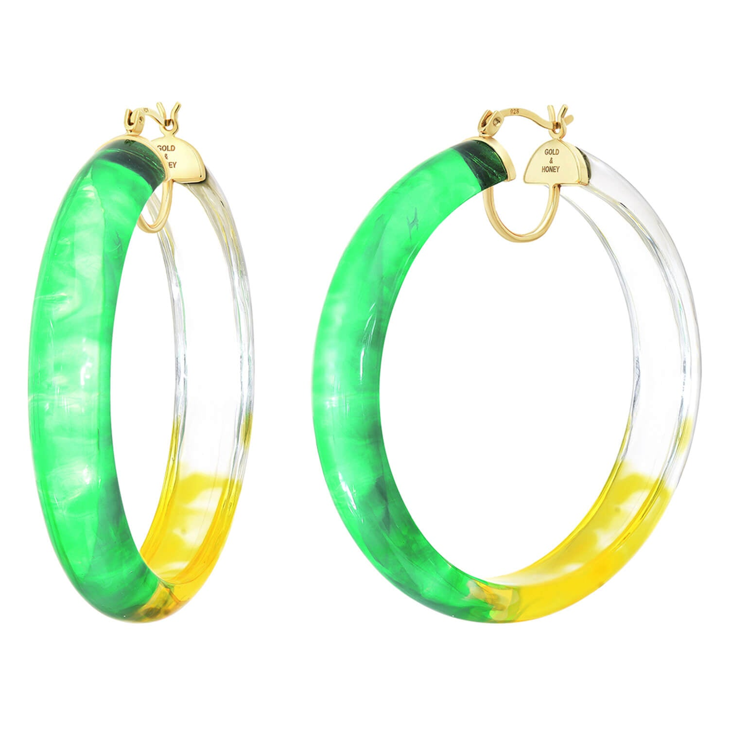 Tie Dye Lucite Hoops in GREEN & YELLOW