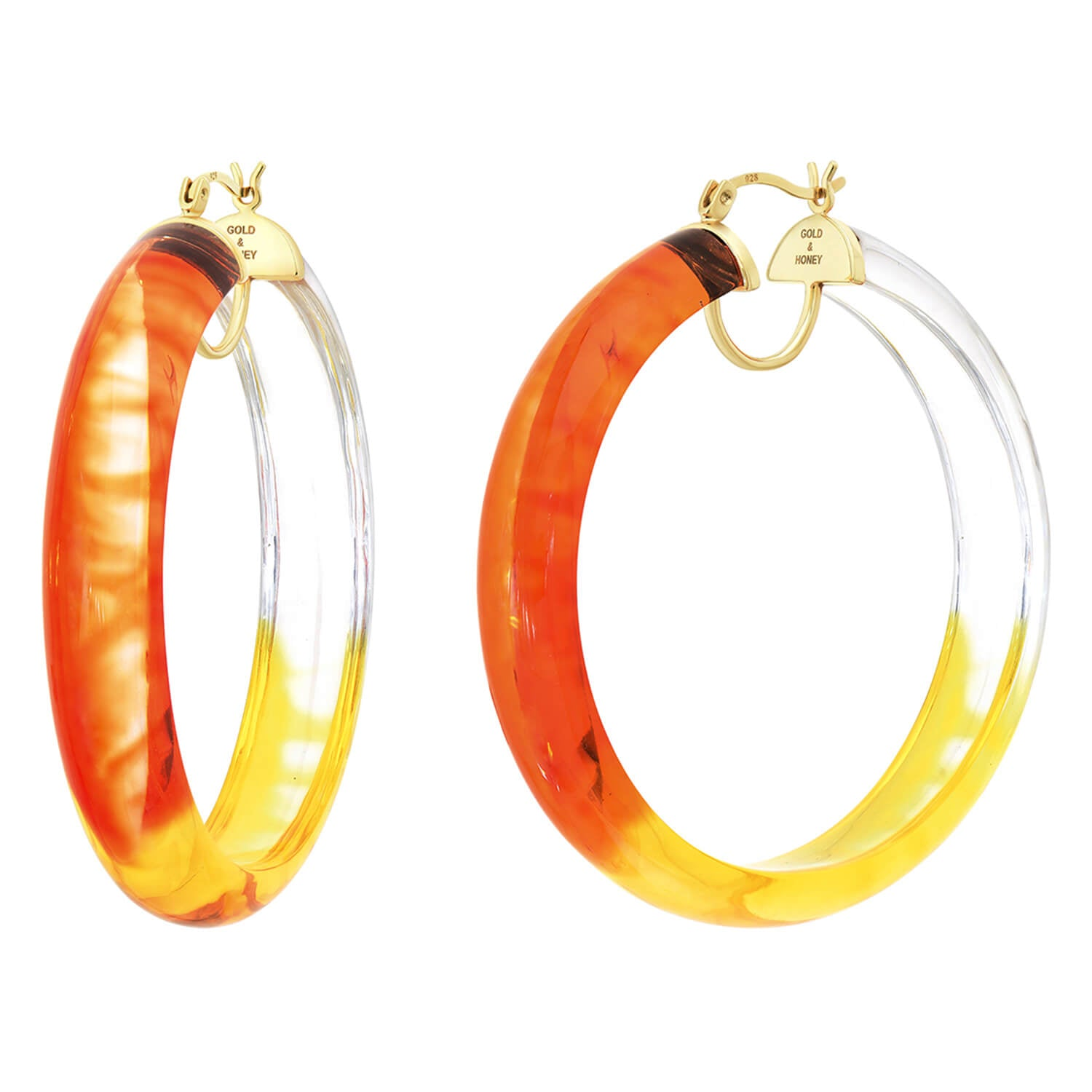 Tie Dye Lucite Hoops in Red & Yellow