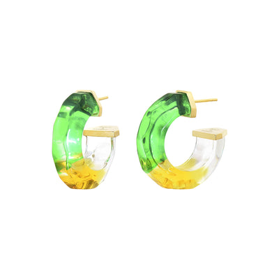 Mini Tie Dye Lucite Hoops in Green & Yellow