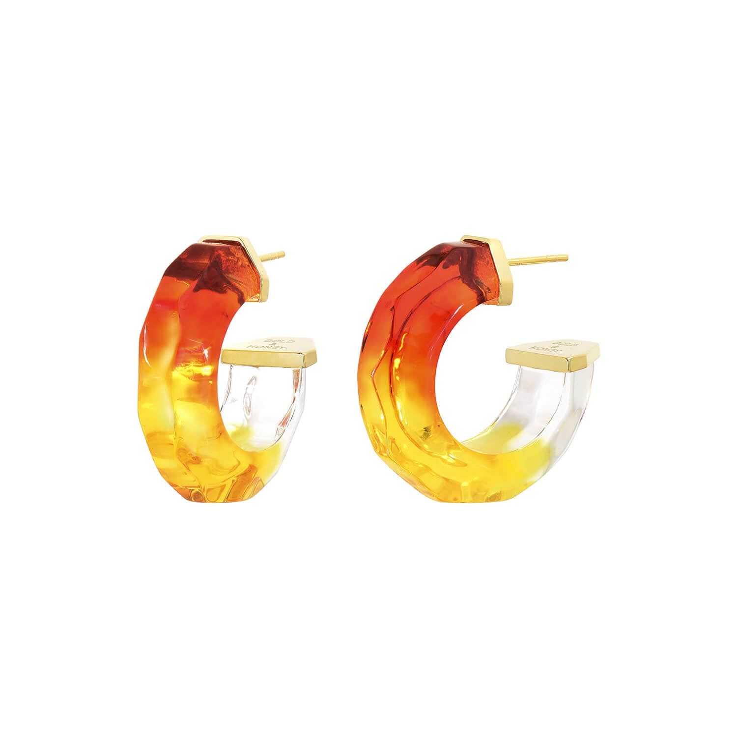 Mini Tie Dye Lucite Hoops in Red & Yellow