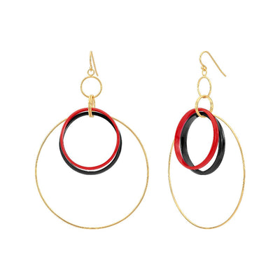 Double Lucite and Silver Hoop Drop Earrings