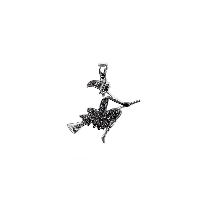 Flying Black Witch with Crystals Pendant