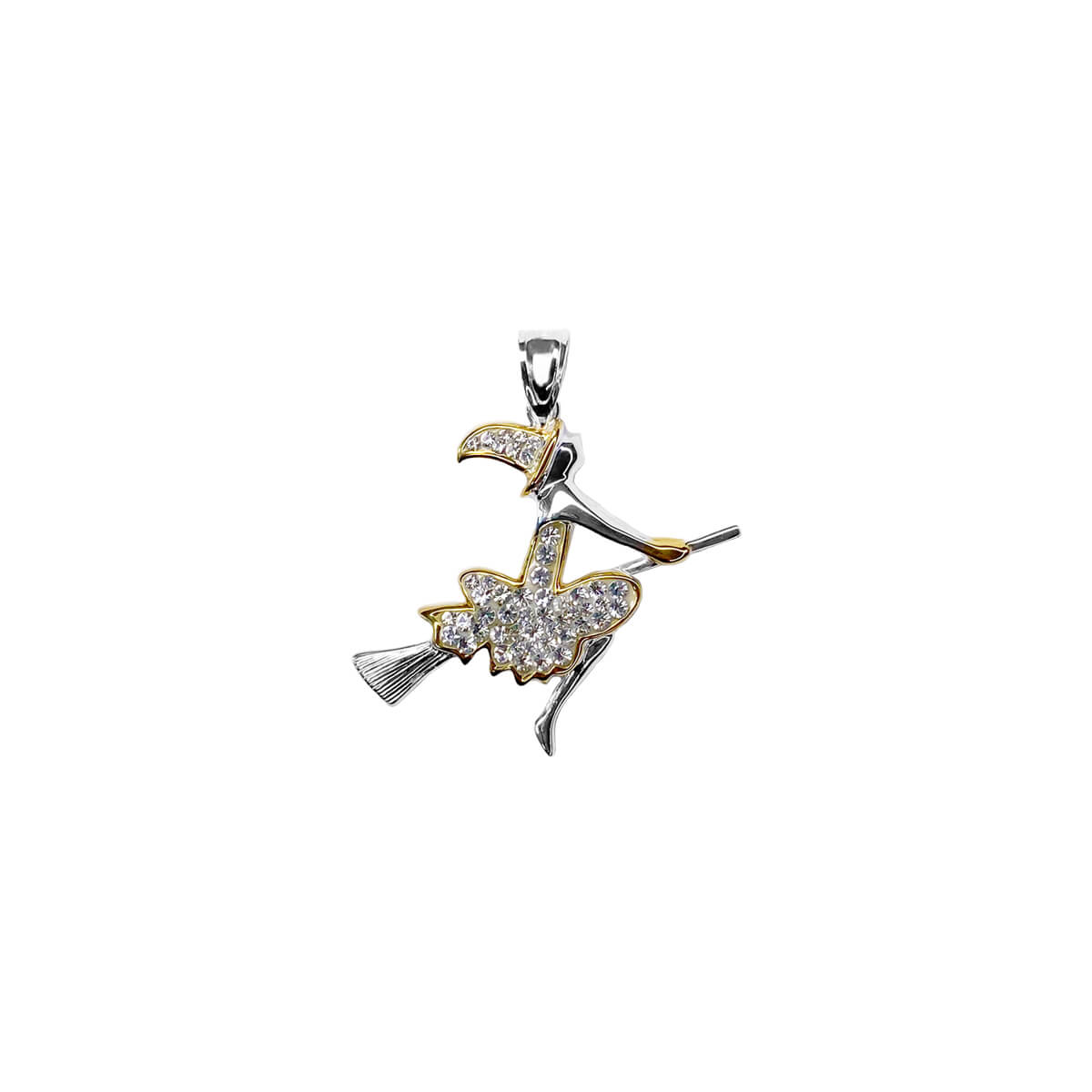 Flying Witch with Crystals Pendant